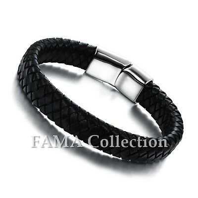 Top Quality FAMA Black Braided Leather Bracelet w/ Stainless Steel Closure