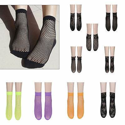 Women's Girls Ruffle Fishnet Ankle High Socks Lady Mesh Lace Short Socks  Modish