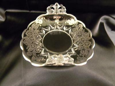 Brilliant, Antique Cambridge Folded Glass Bowl w/ Superb Sterling Silver Overlay