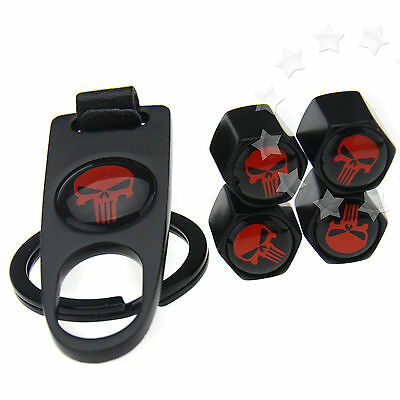4 x Red Skull Car Air Wheel Tyre Tire Valve Dust Caps Cover With Spanner Keying