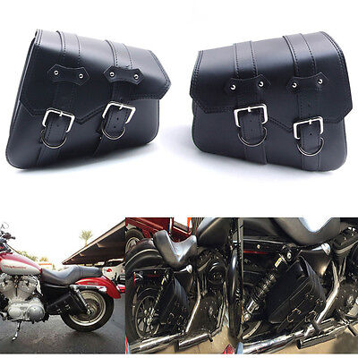 Paire MOTO SACOCHE Sac Bag Outil CUIR CUSTOM BIKE Pr Harley Cavalieres chopper