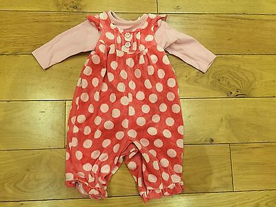 Next Girls Pink Polka Dot All In One Set Up To 3 Months