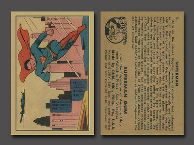 Superman #1, 1940 Gum Inc. Reprint Trading Card, 4 Sharp Corners, Mint