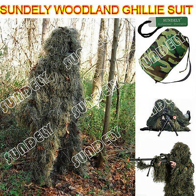 New 5Pcs Ghillie Suit Hunting Archery Sniper Wrap Bag Paintball Camo Adult Gilly