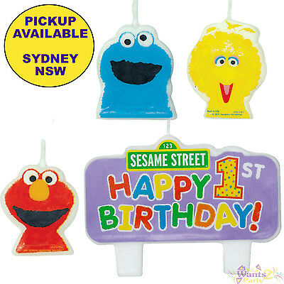 Sesame Street 1St Birthday Party Supplies 4 Cake Candles Set Elmo Cookie Monster