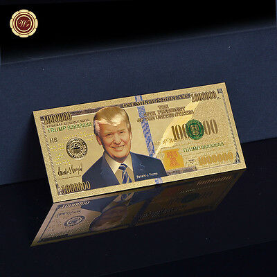WR 24K Gold Banknote One Million Dollar Donald Trump New President Of America