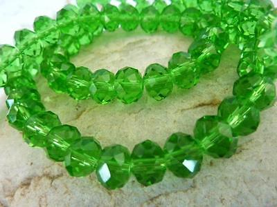 70 pce Christmas Green Faceted Crystal Cut Abacus Glass Beads 8mm x 6mm