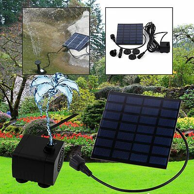 Solar Panel Powered Fountain Garden Pool Pond Water Pump Spray Features