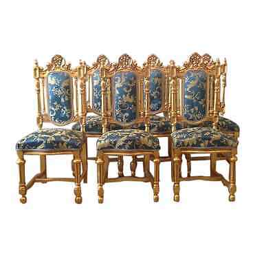 Antique dining room chairs, eight in total in new fabric and gold in Louis xvi