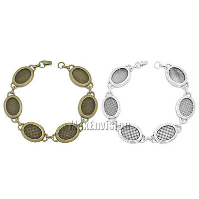13x18mm Oval Bezel Bracelet Blanks Forms fit 13x18mm Oval Cabochon 5 PCS M197