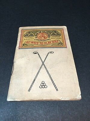 RARE Brooks Brothers A Box Of Matches 40 Ways To Play Golf Vintage Playbook