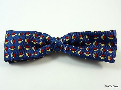 Vintage Clip-On Bow Tie Blue Red Geometric Bowtie