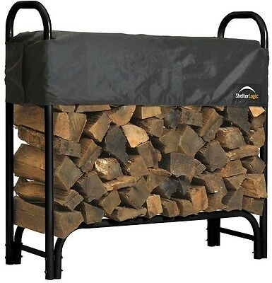 ShelterLogic 4 ft Firewood Rack with Cover Coated Finish Durability And Beauty