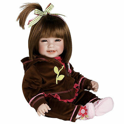"""Adora 20"""" BABY PLAY DOLL WORKOUT CHIC Brown Hair Velour Hot Pink Flower Shoe NEW"""