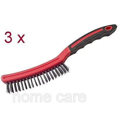"3 x AmTech Long Handle Wire Brush 14"" Steel Rust Removal Cleaning Bristles Steel"