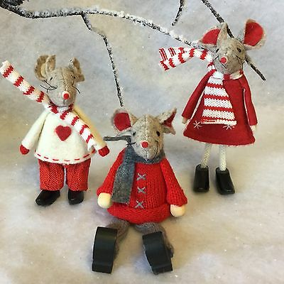 3x Felt Christmas Mice Decoration Mouse Red Scarf Jumper Snow Table Top Mantel