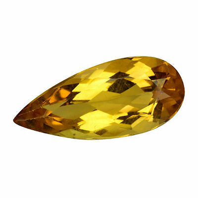 3.410Cts Extraordinary Luster Golden Yellow Natural Heliodor Beryl Pear Gemstone