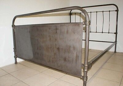 French Antique Industrial Iron Bed Frame Standard Double 4 ft 6 Grey - Renovated