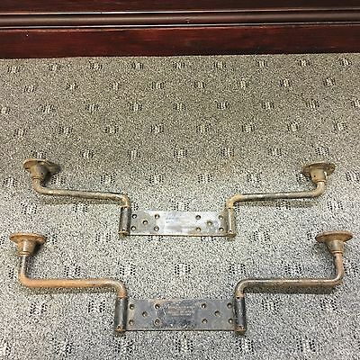 1 pr Vtg Antique Evans Vanishing Door Swing Hinges Hardware Hidden Swinging Barn