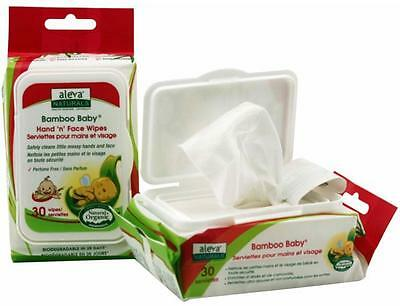Bamboo Baby Hand & Face Wipes, Aleva Naturals, 30 wipes