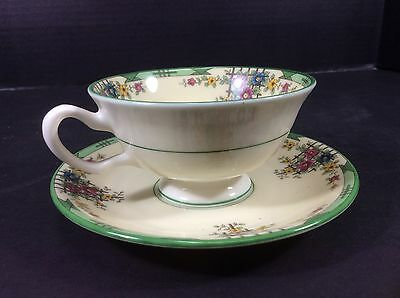 Beautiful Vintage Lenox Trellis Ivory Footed Cup & Saucer Set