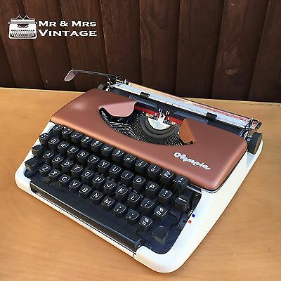 Olympia Splendid 66 Bronze White typewriter  WORKING vintage black red ribbon