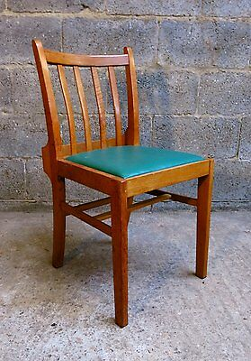 1963 Retro Green Vinyl and Oak Army Chapel Chairs | More than 10 available