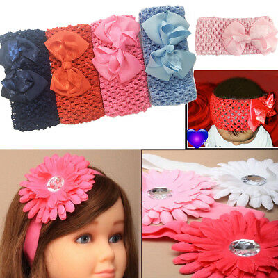 Baby Hair BOW Headband Elastic Band Stretchy Hairband Girls Kids Infant Toddler