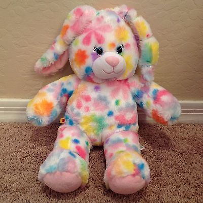 Build A Bear Workshop Watercolor Floral Bunny Rabbit with Eyelashes Easter