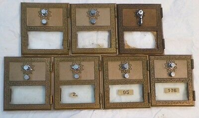 "1960's Vintage Brass Post Office PO Boxes/Doors, 6.5""x5.5"" Lot of 7"