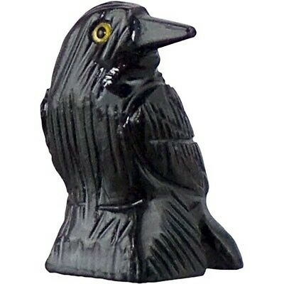 Raven Crow Hand carved Black Onyx Natural Stone Miniature Figurine #33646