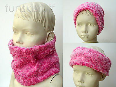 Infant baby PINK HEART NECK WARMER soft teddy fleece scarf snood girls toddler