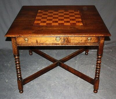 Antique Bobbin-Leg Gaming Table of English Oak