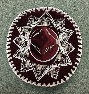 Belri SOMBRERO Mexican Mariachi Hat  Hand Made in Mexico  Maroon & White 19""