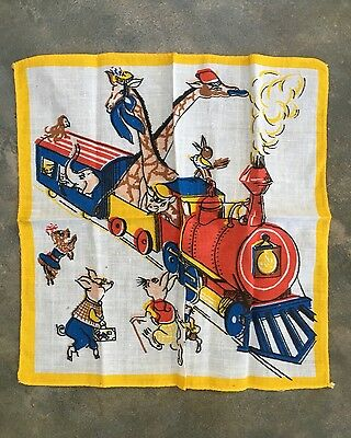 Old Vintage Childrens Handkerchief Animals On a Steam Train Cartoon Graphic Ark