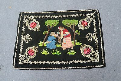 "Antique Middle Eastern Embroidered Velvet Textile Persian Tapestry Scene 23""x34"""