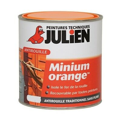 PEINTURE PRIMAIRE ANTIROUILLE MINIUM ORANGE  0.5L JULIEN isole de la rouille