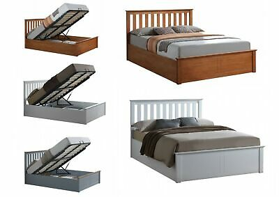 Wooden Ottoman Bed with Large Storage - Oak, White, Pearl or Grey 4ft 4ft6 5ft