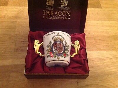 Paragon Loving Cup Gold Lion Handles Charles & Diana Wedding 1981 Boxed