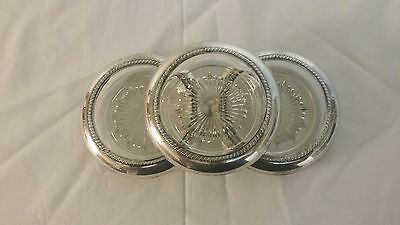Set Of ( 3  ) Vintage Frank M. Whiting Sterling Silver Glass Coasters