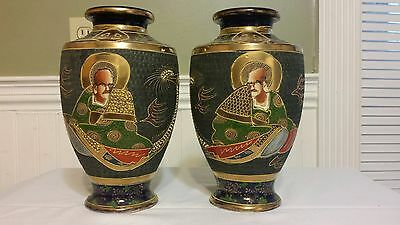 RARE MIRRORED PAIR Antique Japanese Satsuma Vases / Urns Japan Meiji Era MARKED