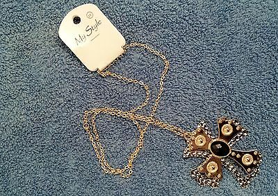 My Style Gold Bronze And Silver Metallic Plated Cross Necklace With Black Bead