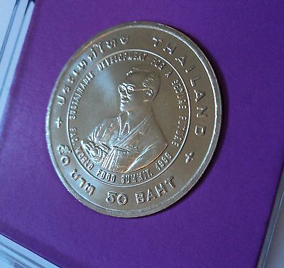 1995 Thailand Fifty Baht The Reign of King Rama IX Coin BU Gift in Display Case