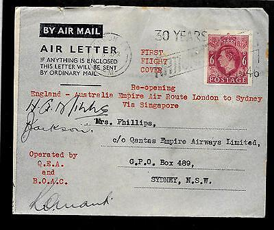 Great Britain - 4/6/46 autographed first flight aereogram to Australia --code167