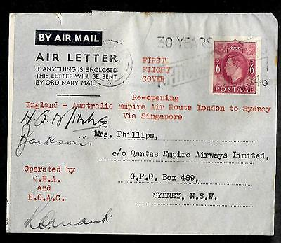 Great Britain -  1946 autographed first flight aereogram to Australia ---code769