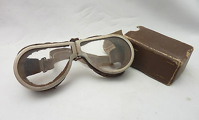 Vintage WWII Aviator Motorcycle Steampunk Goggles Possibly RAF MKII