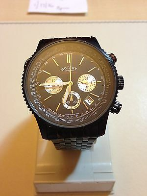 Rotary Mens Black Chronograph Stainless Steel Bracelet Watch.
