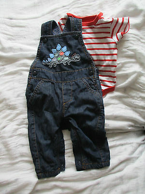 Marks and Spencer Baby Boy Dungarees - 3-6 Months, Denim Dinosaur, M&S