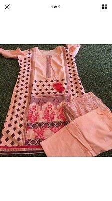 Asian Indian Pakistani designer style 3 piece stitched suit Large