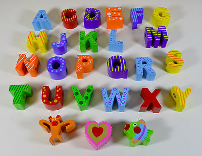 Lot of 26 Wooden Letter & Shapes Lacing Blocks (23 Letters, 3 Misc Shapes)